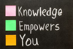 Hand writing Knowledge Empowers You on blackboard. Stock Photography