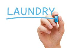 Laundry Handwritten With Blue Marker Stock Photo