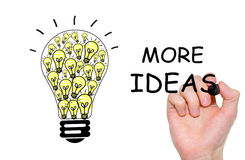 Hand writing Light bulb with more ideas,  on white background Royalty Free Stock Photos