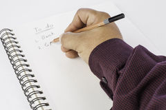Hand writing list Royalty Free Stock Images