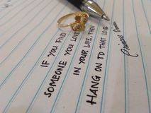 Hand writing about love royalty free stock image