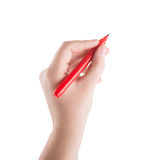 Hand writing with marker royalty free stock photos