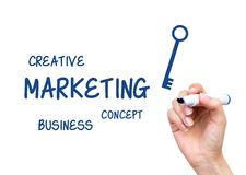 Hand writing Marketing content. With blue marker on virtual board Stock Photography