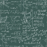 Hand writing maths formula on seamless blackboard. Hand writing mathematics formula on seamless blackboard as background Stock Images