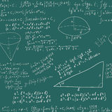 Hand writing maths formula on seamless greenboard. Hand writing mathematics formula on seamless greenboard as background Stock Photography