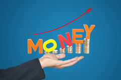 Hand writing money growing up trend Stock Image