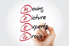 Hand writing MPEG Moving Picture Experts Group with marker, acronym concept