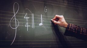 Hand writing music notes on a score on blackboard
