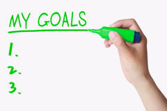 Hand writing My GOALS on whiteboard Stock Images