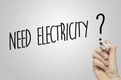 Hand writing need electricity Stock Photography
