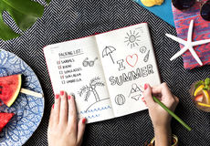 Hand Writing Note Diary Plan Concept Stock Image