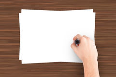 Hand Writing Note Paper Stock Photo