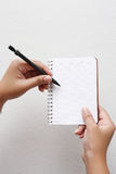 Hand writing on notebook. Hand writing by pencil on notebook Stock Images