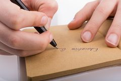 Hand writing on a notebook. Hand writing 'Education is...' on a notebook royalty free illustration