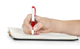 Hand writing in notebook Royalty Free Stock Image
