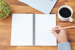 Hand writing notebook Royalty Free Stock Images