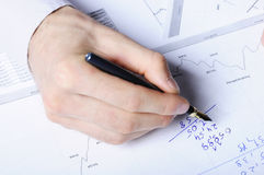 Hand writing a numbers Royalty Free Stock Photos