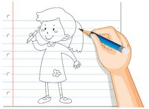 Free Hand Writing Of Girl Holding Pencil Outline Royalty Free Stock Images - 189391359