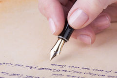 Hand writing with old fountain pen manuscript Royalty Free Stock Photos