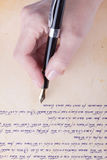 Hand writing with old fountain pen manuscript Stock Photos