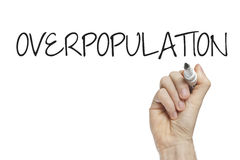 Hand writing overpopulation. On a white board Stock Images