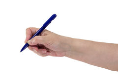 Hand is writing with a p. Senior woman`s hand with a pen t isolated on white background Royalty Free Stock Image