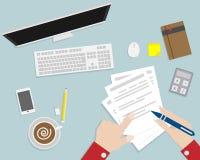 Hand writing paper on workspace. Top view of desk flat design cartoon vector illustration vector illustration