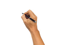Hand writing with pen. Royalty Free Stock Image