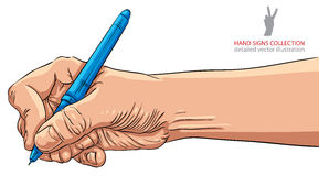 Hand writing with pen, detailed vector illustration Royalty Free Stock Photo