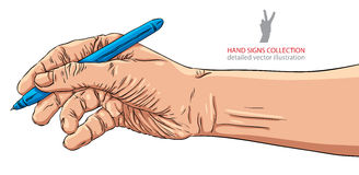 Hand writing with pen, detailed vector illustration. Stock Photo