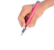 Hand writing with pen isolated Royalty Free Stock Photo