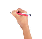 Hand writing with pen isolated. On white background Royalty Free Stock Photo