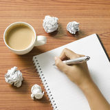 Hand writing with pen on notebook Stock Photography