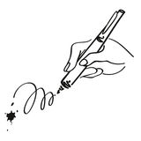 Hand writing with a pen. Vector outline illustration. Vector illustration of a hand holding pen in writing position, outline sketch vector illustration