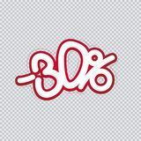 Hand writing 30 percent discount. Sale banner, flyer, isolated inscription. Vector illustration EPS 10 vector illustration