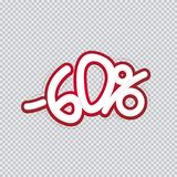 Hand writing 60 percent discount. Sale banner, flyer, isolated inscription. Vector illustration EPS 10 stock illustration