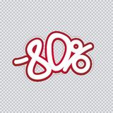Hand writing 80 percent discount. Sale banner, flyer, isolated inscription. Vector illustration EPS 10 royalty free illustration