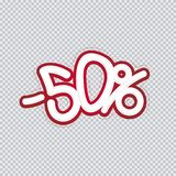 Hand writing 50 percent discount. Sale banner, flyer, isolated inscription. Vector illustration EPS 10 vector illustration