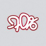 Hand writing 70 percent discount. Sale banner, flyer, isolated inscription. Vector illustration EPS 10 stock illustration
