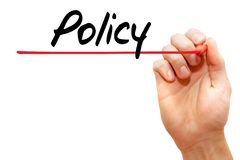 Hand writing Policy, business concept Stock Images