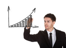 Hand writing on profit growth chart blackboard Stock Photos