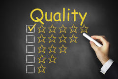 Hand writing quality on chalkboard rating stars. Hand writing quality on black chalkboard golden rating stars Stock Image