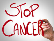 Hand writing with red marker on transparent wipe board - Stop Cancer.  Stock Image