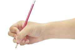 Hand writing with red pencil Royalty Free Stock Photos