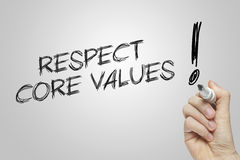 Hand writing respect core values Royalty Free Stock Photography