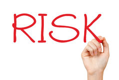 Hand writing risk Stock Images