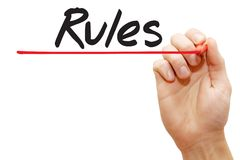 Hand writing Rules, business concept Royalty Free Stock Photo