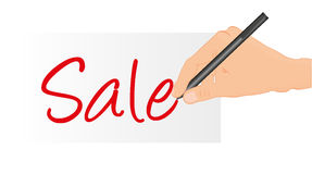 Hand writing sale Stock Images