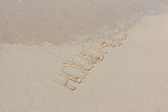 Hand writing in sand in summer holidays on beach Royalty Free Stock Photos