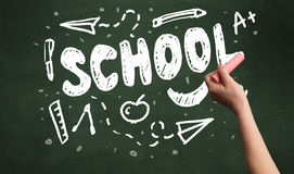 Hand writing on school blackoard Stock Photos